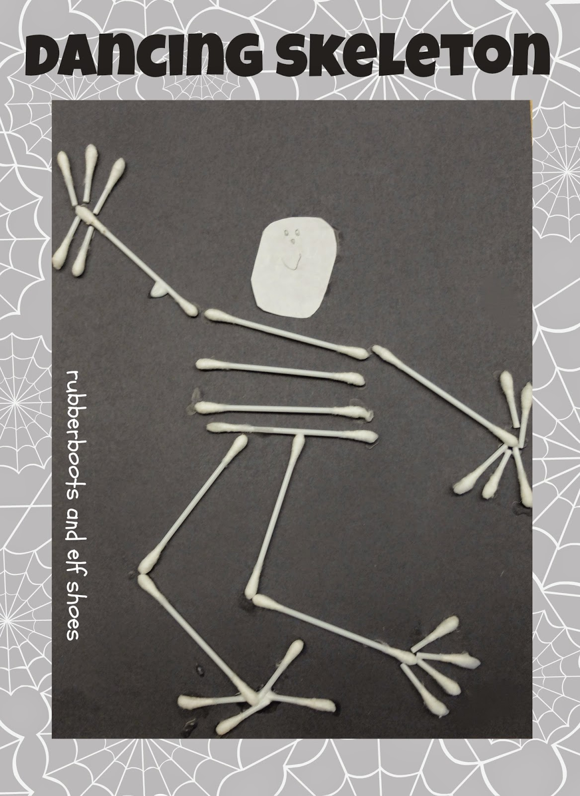 30 easy halloween crafts for kids in 2017 for Q tip skeleton craft template