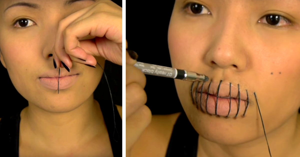 This Quick Stitched Mouth Halloween Makeup Is Not Worth Missing ...
