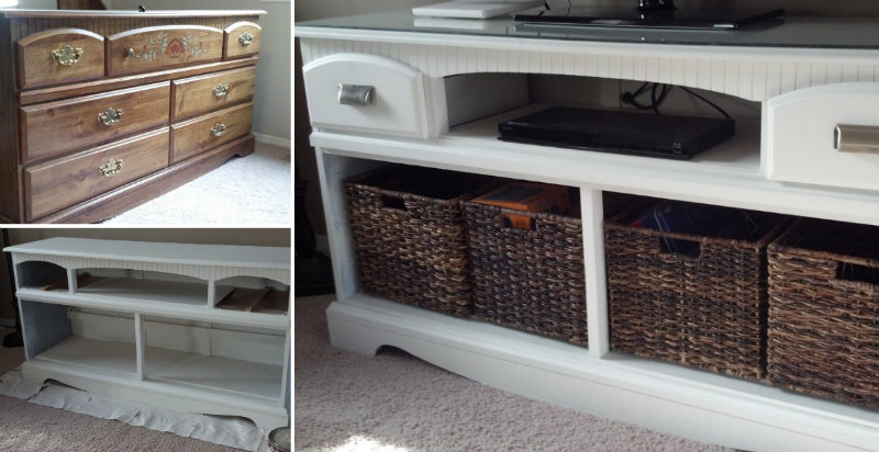 repurpose an old dresser and turn it into a brand new tv cabinet u2013 cute diy projects