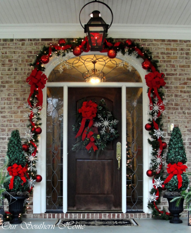classic red and green christmas porch - Decorating Outside Pillars For Christmas