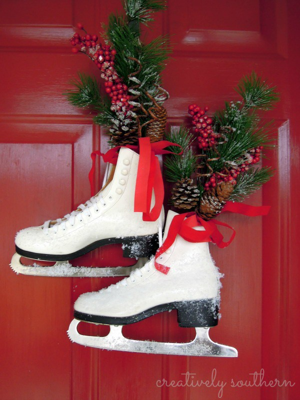 Holiday Front Door Decorating With Ice Skates