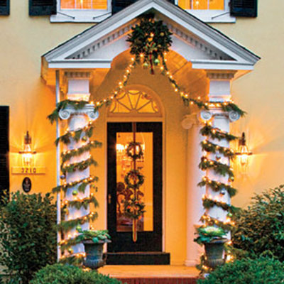wrap columns with garland decorating