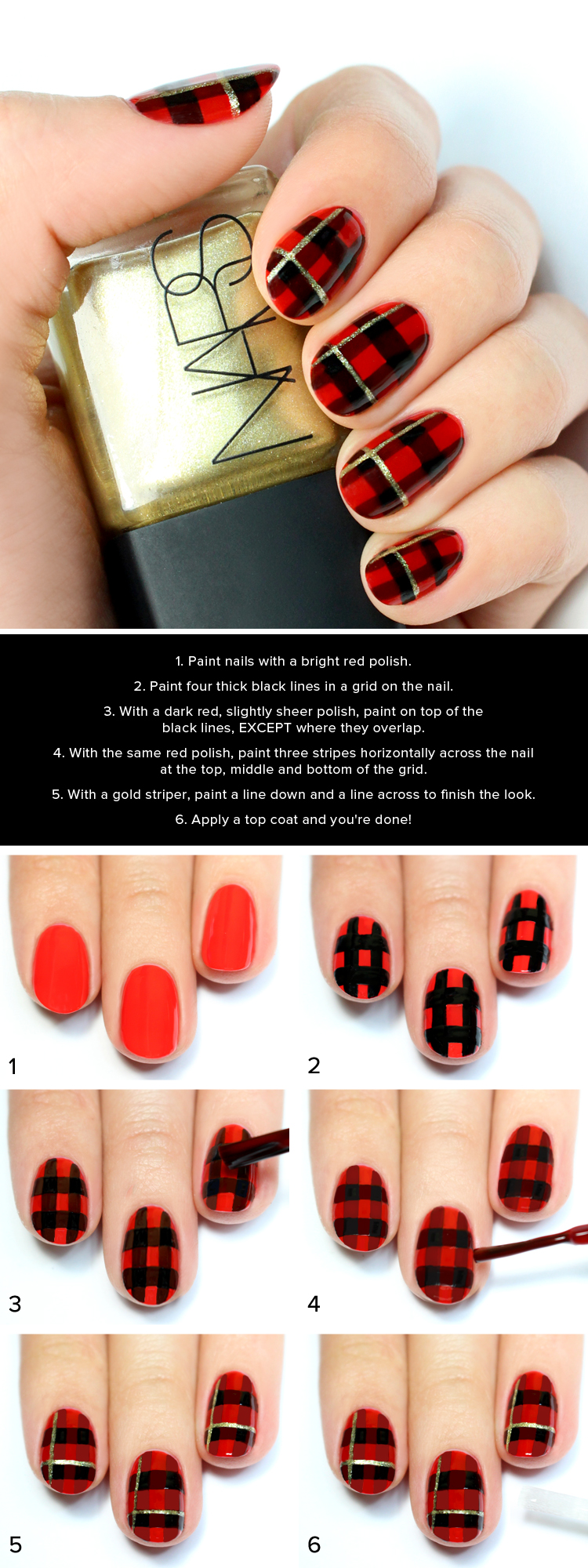 Black and Red Plaid Print Nail Tutorial