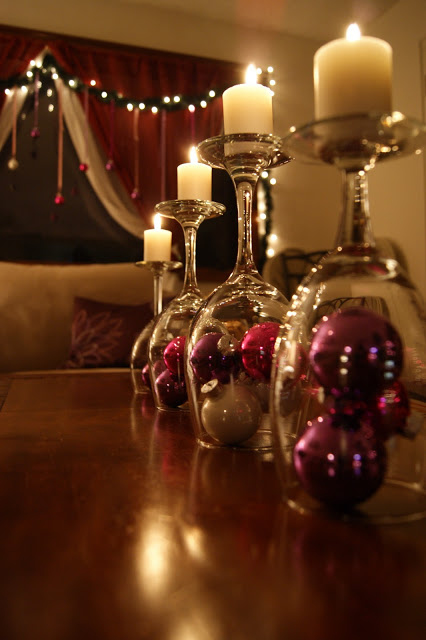 Candle Lit Wineglasses Christmas Table Decorations