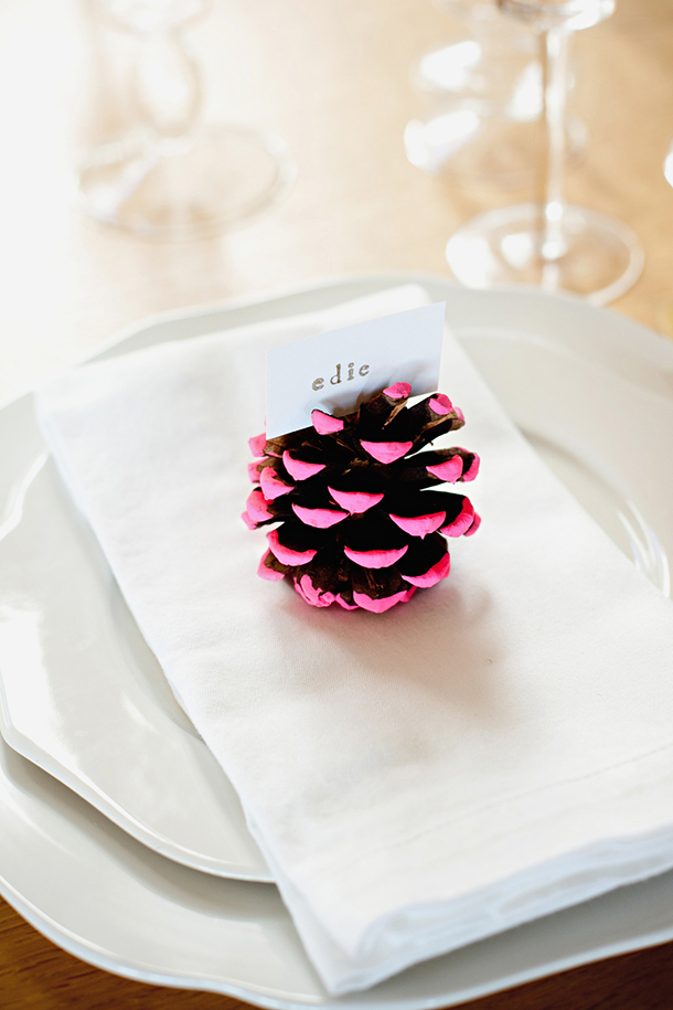 DIY Neon Pine Cone Place Card Holder