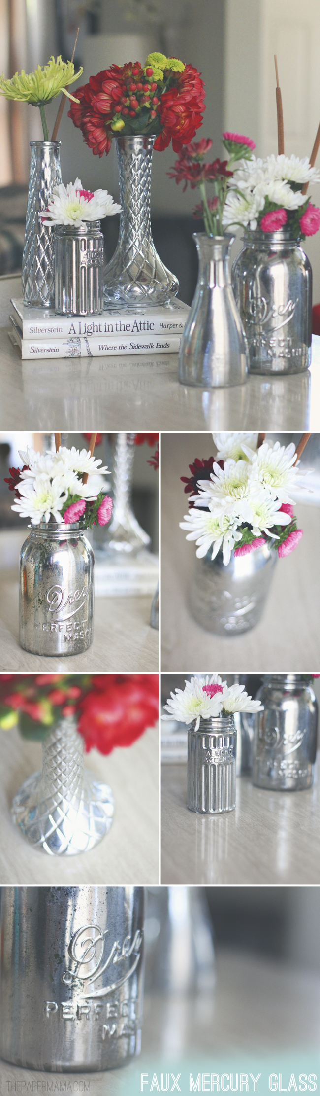 Faux Mercury Glass Vases