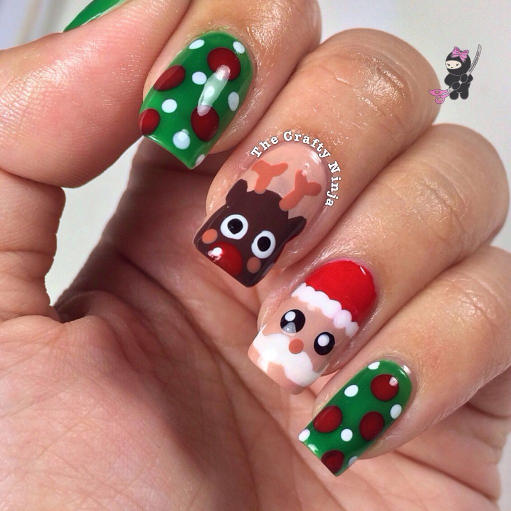 Santa and Rudolph Reindeer Nails