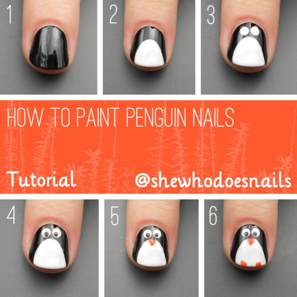 Tutorial : How to Paint Penguin Nails