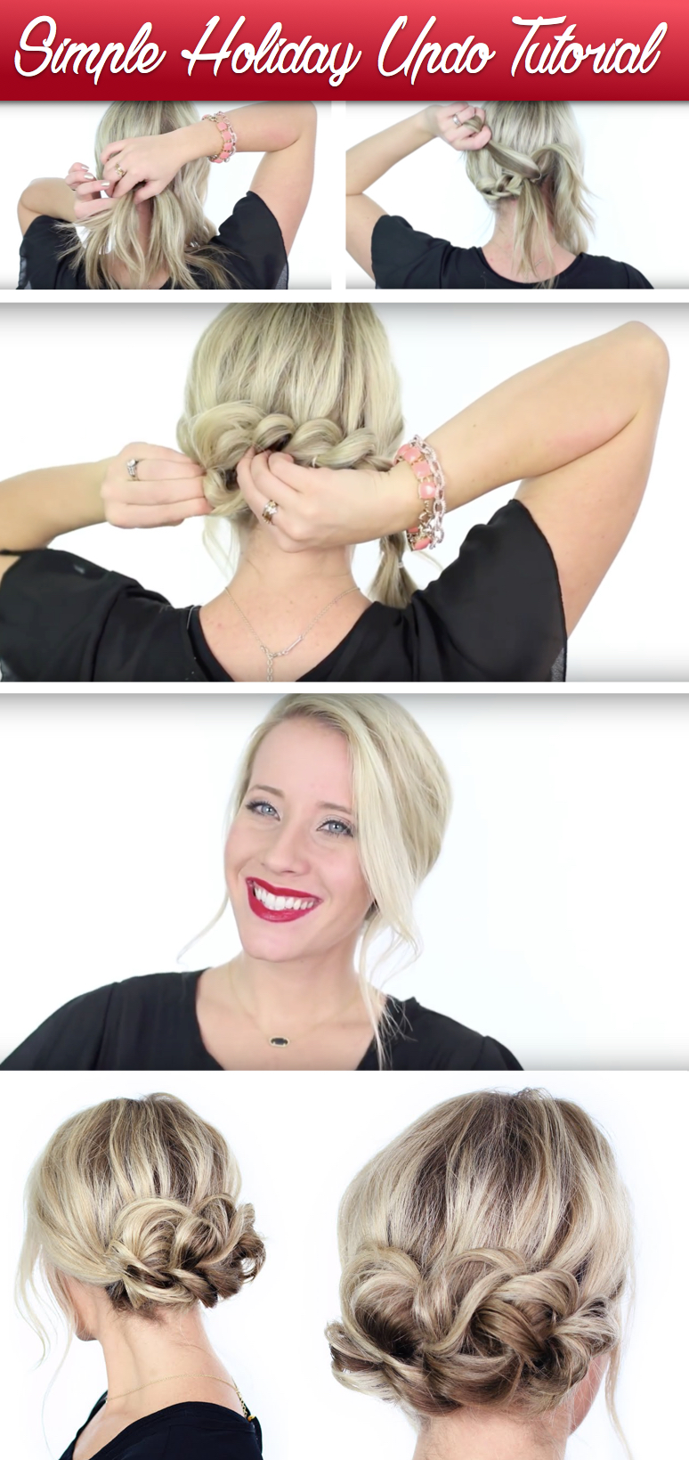 simple holiday updo tutorial
