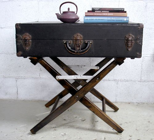 Easy DIY Side Table: Directoru0027s Chair And Vintage Suitcase