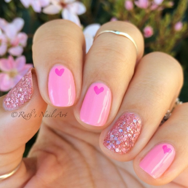 Elegant Pink Valentine's Nails - 25 Valentine's Day Nail Art Ideas Working As A Wonderful Reminder Of