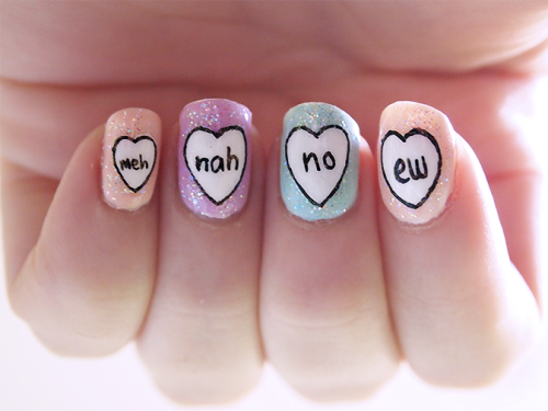 Message in a Heart Nail Art