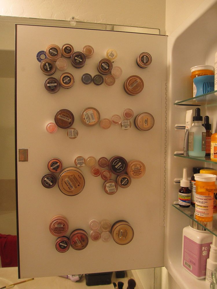 Mineral Makeup Storage on Medicine Cabinet