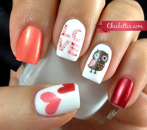 Owl Love Valentine's Day Nails