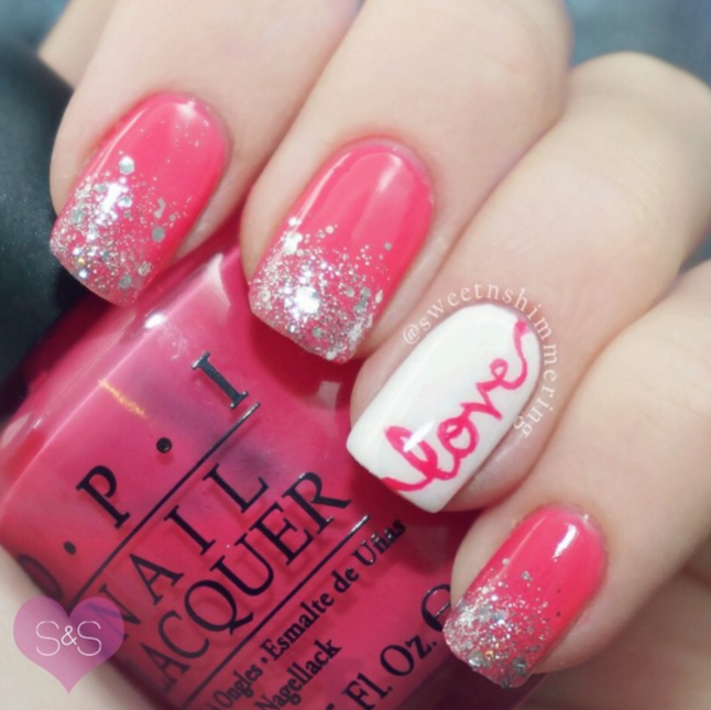 Pretty Valentine Day-ish Love Nails - 25 Valentine's Day Nail Art Ideas Working As A Wonderful Reminder Of