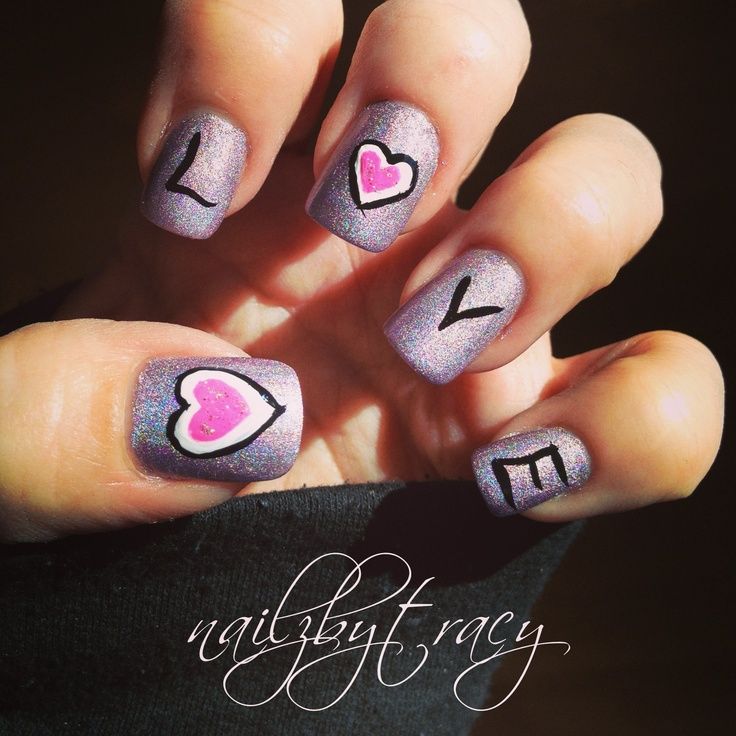 Shimmery Love Nail Art