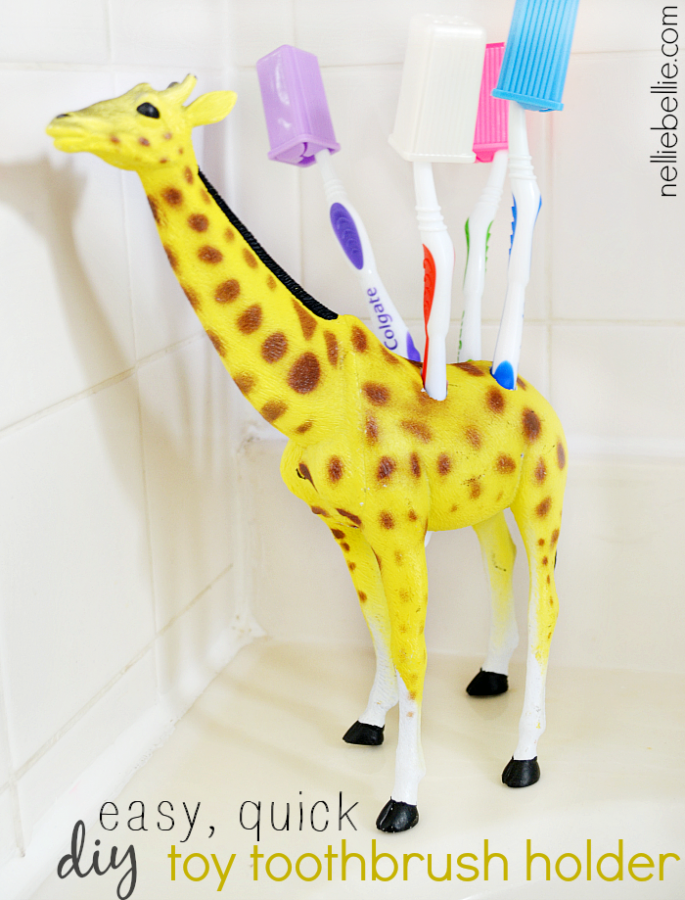 Turn A Plastic Toy Into a Toothbrush Holder