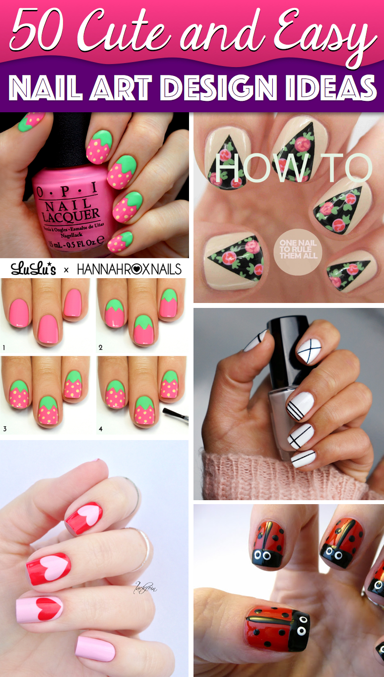 50 cute cool simple and easy nail art design ideas for 2016 50 cute cool simple and easy nail art design ideas to make you skip prinsesfo Images