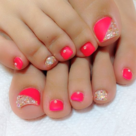 44 easy and cute toenail designs for summer cute diy projects coral pink rhinestones toenails solutioingenieria Images