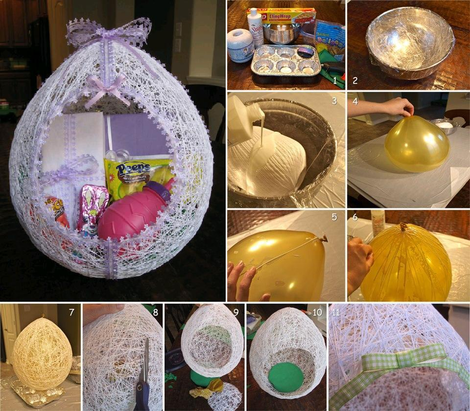 60 diy easter basket ideas for 2017 diy egg shaped easter string basket negle Image collections