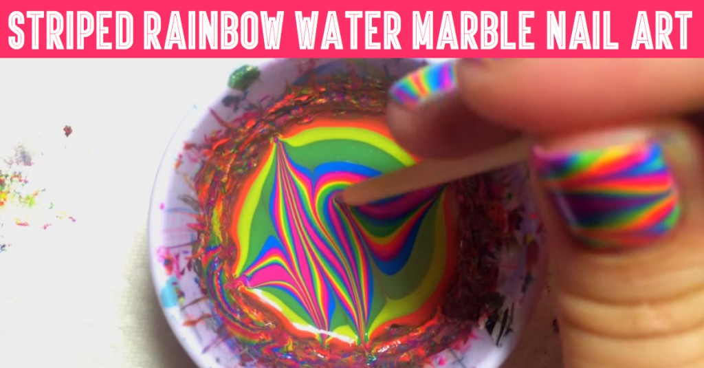 Lightning Bolt Striped Rainbow Water Marble Nail Art Tutorial - 50 Cute, Cool, Simple And Easy Nail Art Design Ideas For 2016