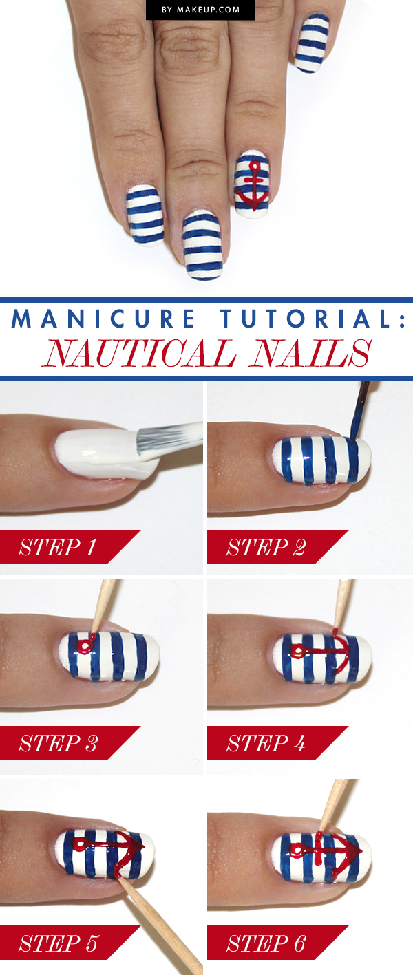 50 cute cool simple and easy nail art design ideas for 2016 8 nautical manicure prinsesfo Choice Image