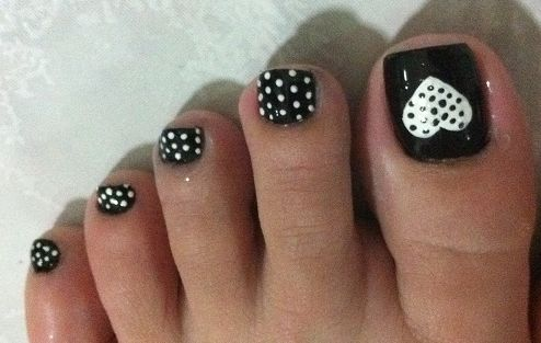 44 easy and cute toenail designs for summer page 2 of 5 cute white heart polka dot design prinsesfo Image collections