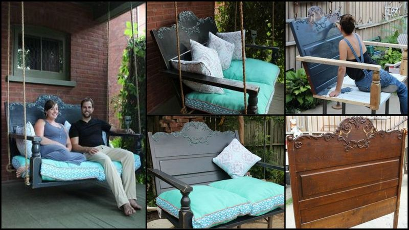 22 diy garden swings you can bring to life almost for Old porch swing