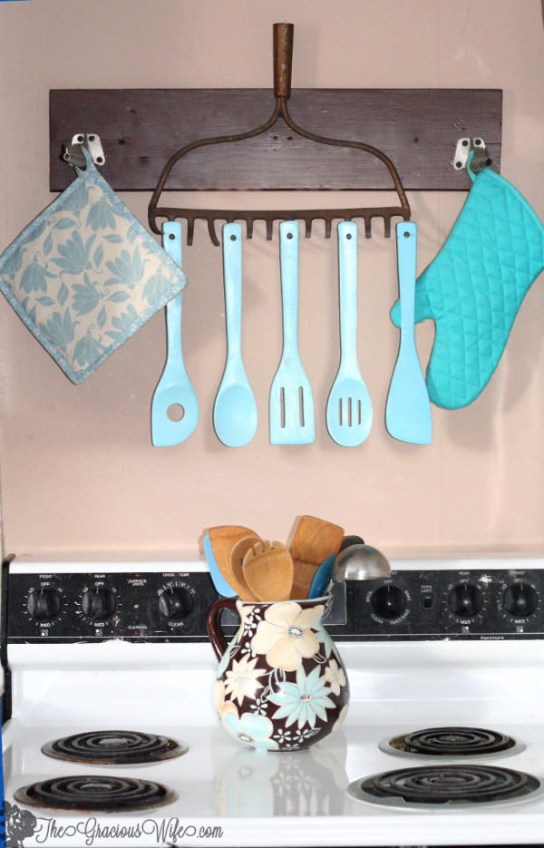 amazing Diy Kitchen Decorating Projects #2: 35 Best DIY Kitchen Decorating Projects. 1. Upcycled Old Rake to Rustic  Utensil Holder