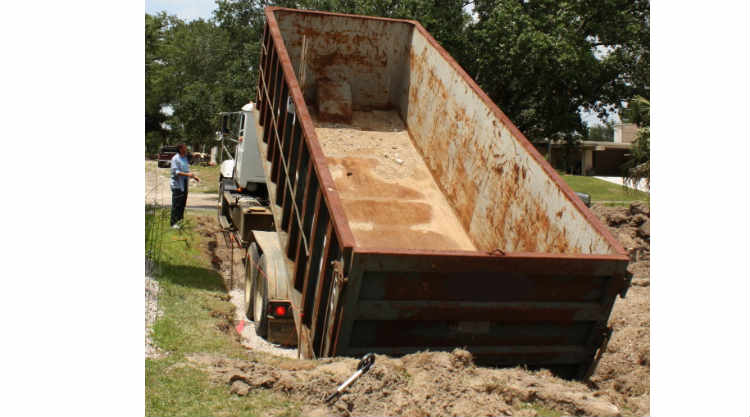 22-Foot Dumpster to Backyard Swimming Pool