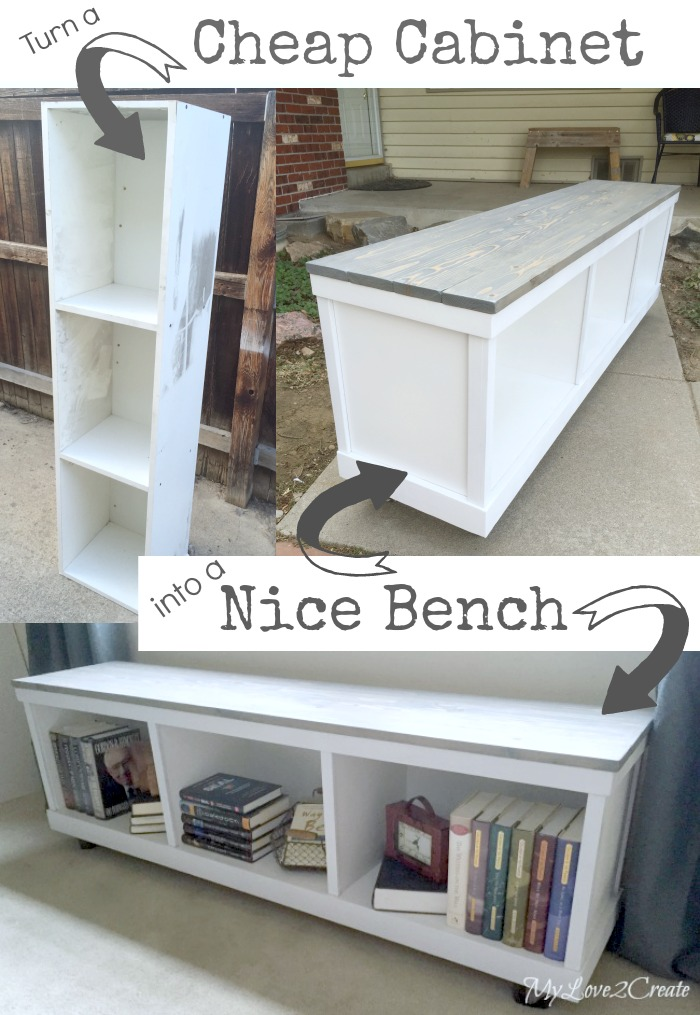 Cheap Cabinet into Nice Bench