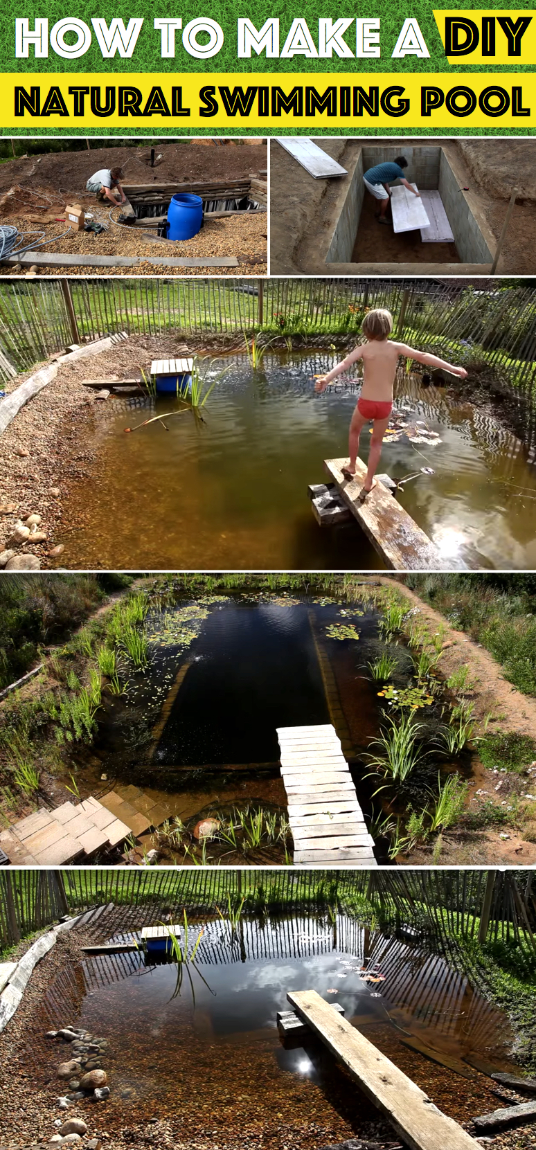 How to make a diy natural swimming pool cute diy projects for Pond swimming pool