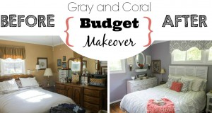 Gray and Coral Bedroom Makeover Reveal