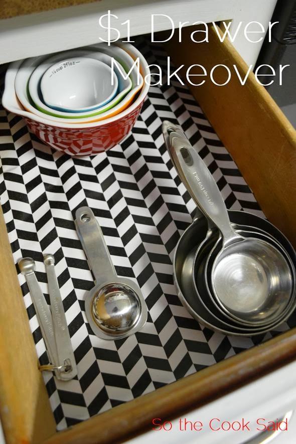 $1 Kitchen Drawer Makeover