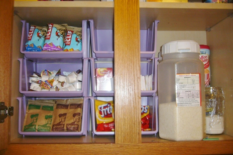 Kitchen Cabinet Organizing with Containers