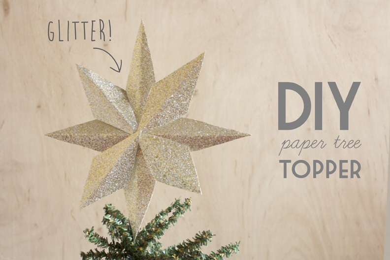 Christmas Tree Topper Crafted From Glittered Paper