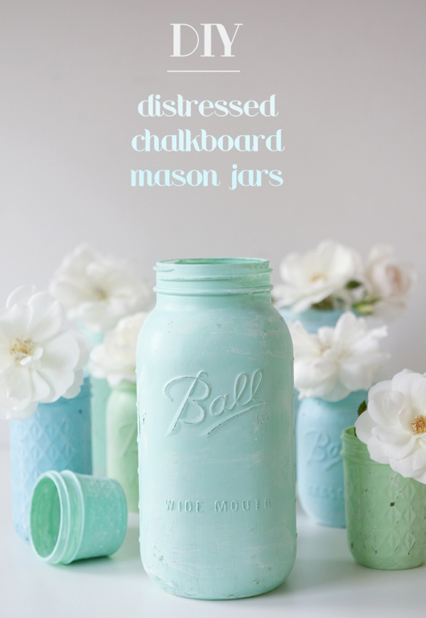 DIY Distressed Chalkboard Mason Jars