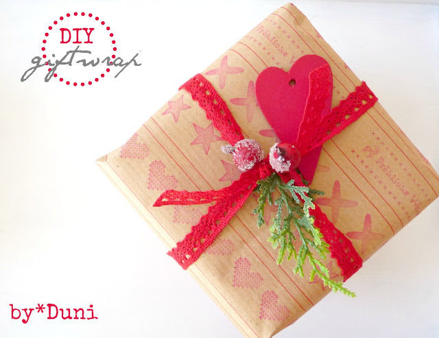 DIY Handstamped Kraft Paper Gift Wrap