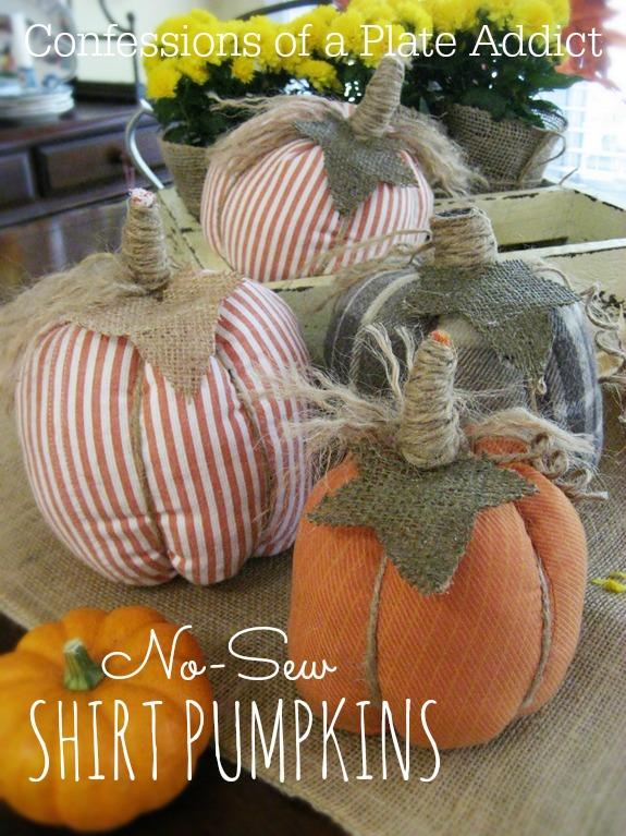 Easy No Sew Shirt Pumpkins