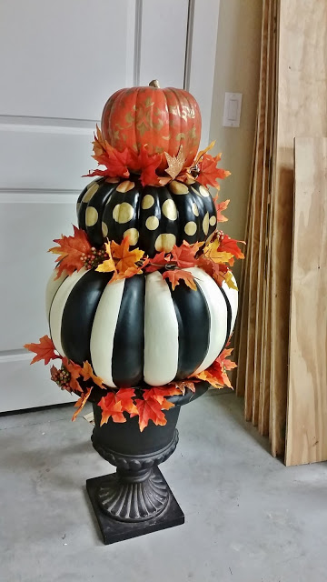 Hand Painted Pumpkin Topiary for Fall and Halloween