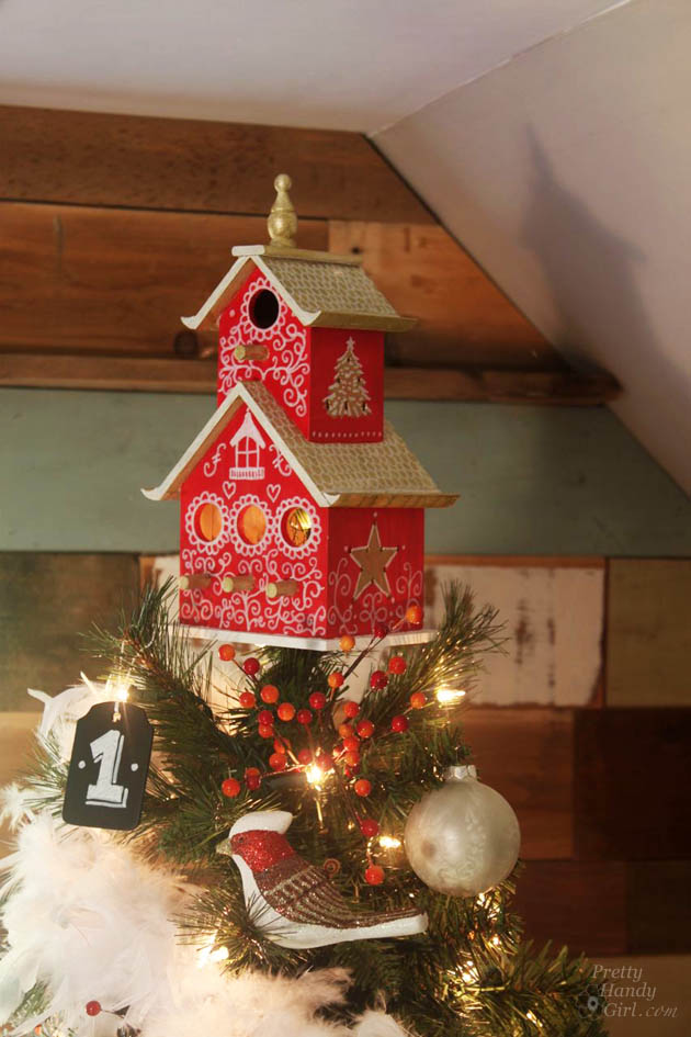 how to create a charming birdhouse tree topper - Homemade Christmas Tree Topper Ideas