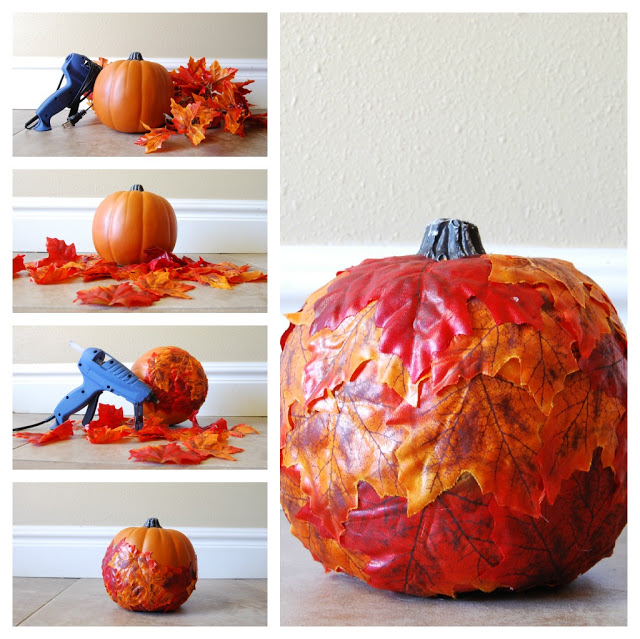 Leaf Covered Pumpkins