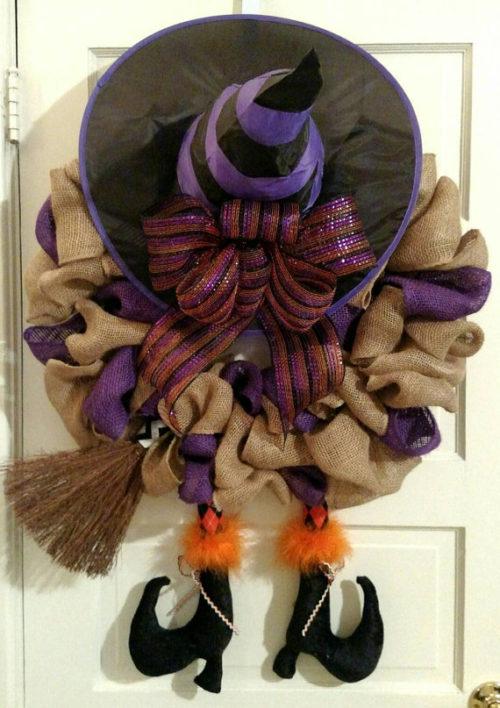 Witch Halloween Burlap Wreath