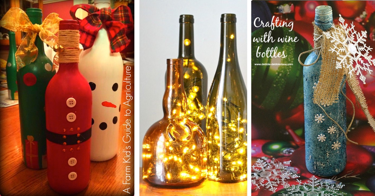 20 wine bottle christmas crafts to go for a festive decor for Christmas craft ideas with wine bottles