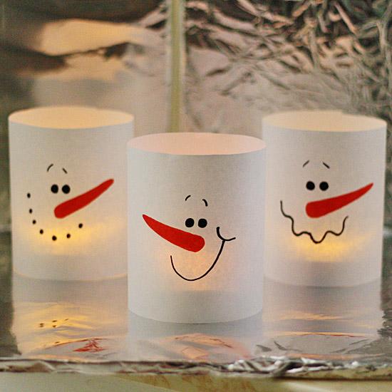 3-Minute Paper Snowman Luminaries