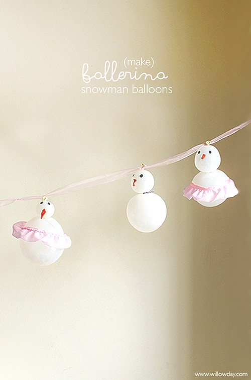 DIY Ballerina Balloon Snowman Garland