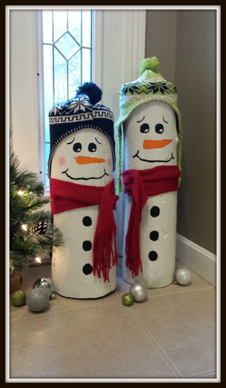 DIY Idea Log Snowmen