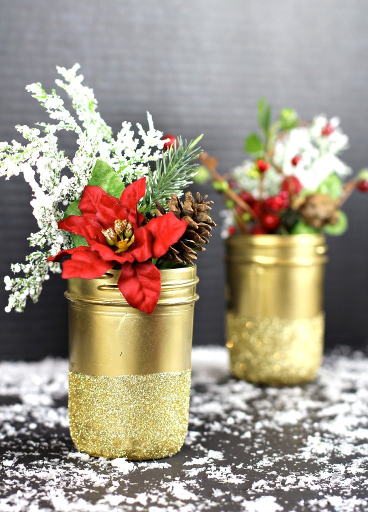 Gold Glittered Jar Centerpiece