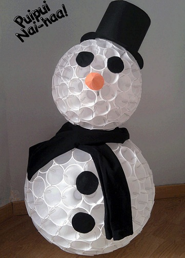 Plastic Cups Snowman