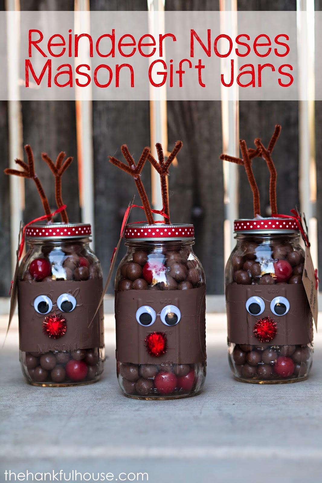 Reindeer Noses Mason Gift Jars